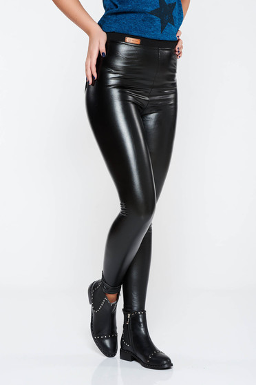SunShine black casual high waisted tights from ecological leather with tented cut with elastic waist