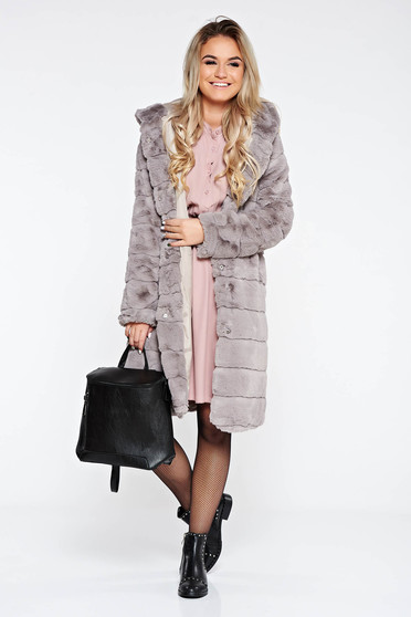 Grey fur elegant from ecological fur with inside lining with pockets