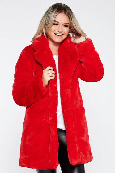 Fur red from ecological fur with inside lining elegant with pockets