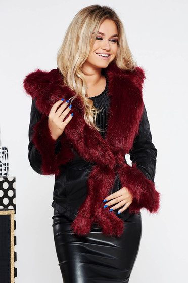 Short cut arched cut jacket from ecological leather burgundy with faux fur lining