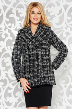 Casual jacket from thick fabric with inside lining with straight cut black
