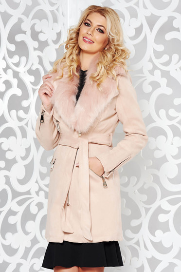 Rosa casual trenchcoat from velvet fabric with inside lining fur collar