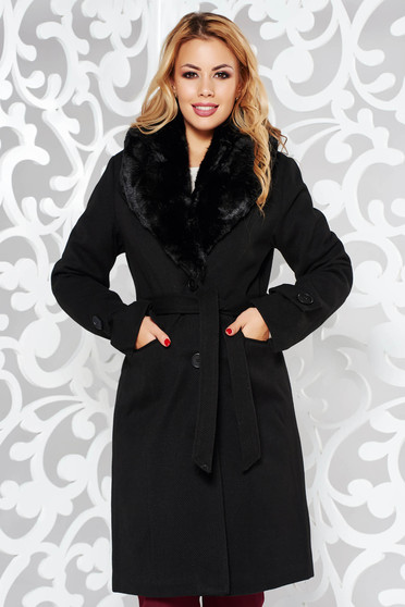 Black elegant arched cut coat cloth fur collar