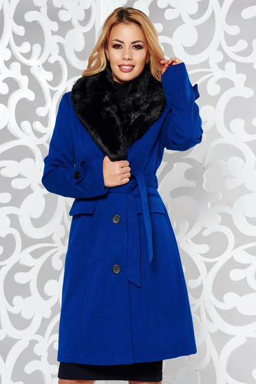 Blue elegant arched cut coat cloth fur collar