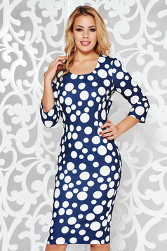Darkblue daily dress with tented cut 3/4 sleeve from soft fabric