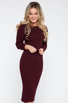 Burgundy casual from 2 pieces set knitted fabric with a skirt with tented cut