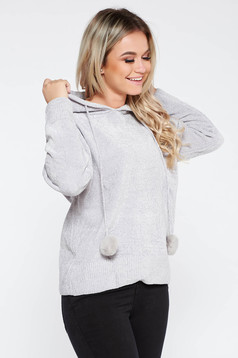 Grey SunShine casual sweater knitted fabric from soft fabric with undetachable hood