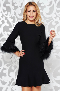 SunShine black daily a-line dress knitted fabric with faux fur details
