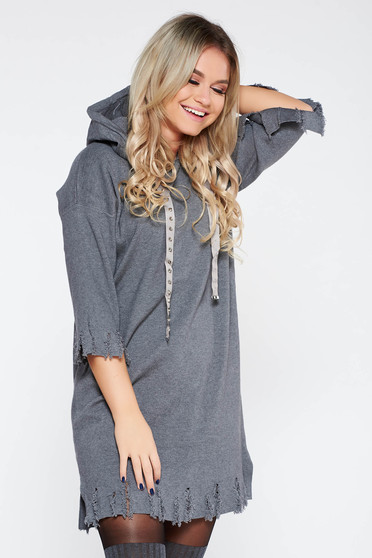 Dress SunShine grey casual flared knitted fabric with ruptures with undetachable hood