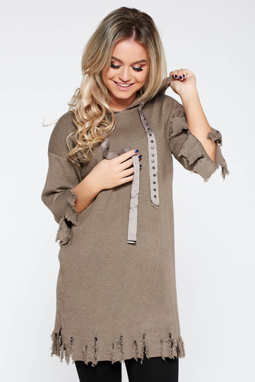 Dress SunShine brown casual flared knitted fabric with ruptures with undetachable hood
