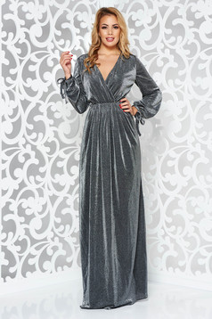 Silver occasional long cloche dress with elastic waist