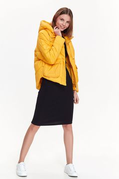 Top Secret yellow casual from slicker jacket with pockets with undetachable hood