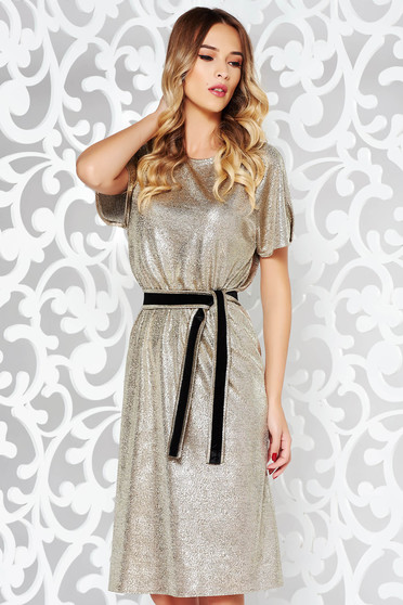 StarShinerS gold clubbing dress with metallic aspect with inside lining accessorized with tied waistband thin fabric