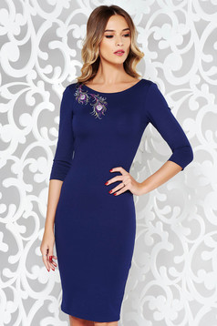 StarShinerS blue elegant embroidered pencil dress flexible thin fabric/cloth with 3/4 sleeves