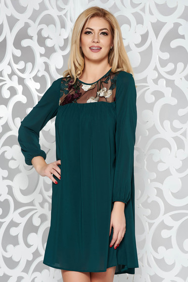 StarShinerS green occasional flared dress voile fabric with inside lining with embroidery details