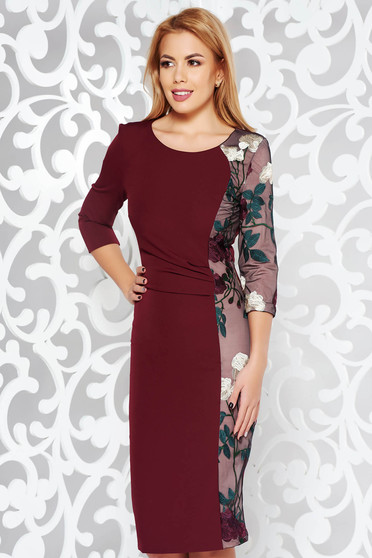 StarShinerS burgundy elegant pencil dress slightly elastic fabric with embroidery details