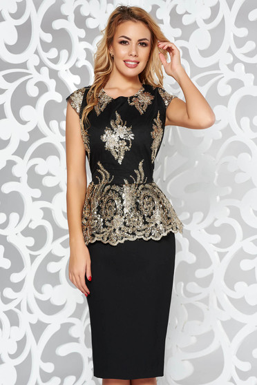 Gold occasional pencil dress frilled slightly elastic cotton with sequin embellished details