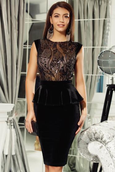 Fofy black velvet occasional pencil dress frilled with sequin embellished details