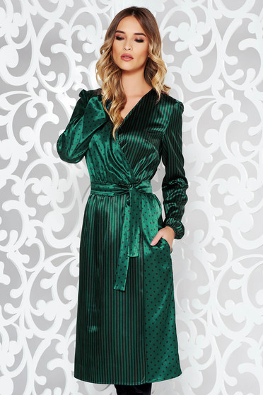 StarShinerS green elegant midi dress from satin fabric texture accessorized with tied waistband wrap around