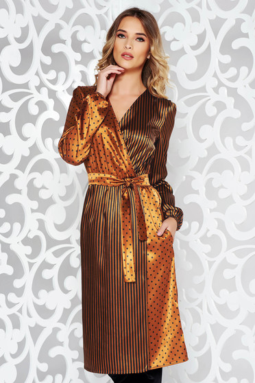 StarShinerS brown elegant midi dress from satin fabric texture accessorized with tied waistband wrap around