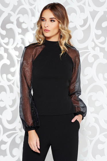 StarShinerS black elegant women`s blouse slightly elastic fabric long sleeved with bright details