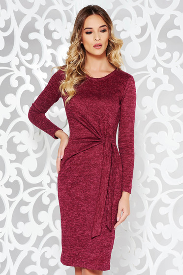 StarShinerS burgundy dress daily knitted fabric with tented cut long sleeved