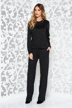 StarShinerS black casual lady set knitted fabric with easy cut with pockets