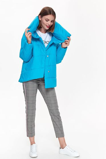 Top Secret turquoise casual from slicker jacket asymmetrical with easy cut high collar