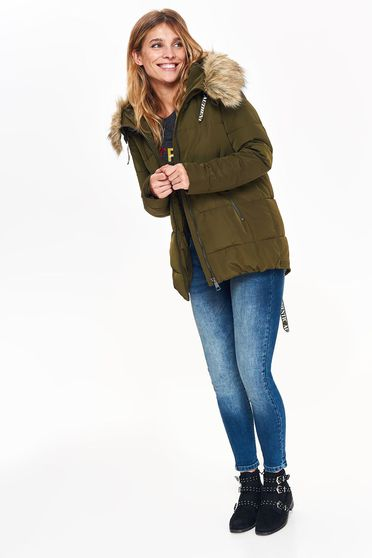 Top Secret green casual from slicker jacket with easy cut with inside lining