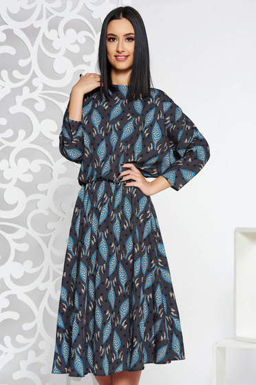 Darkgrey casual midi cloche dress from satin fabric texture with elastic waist