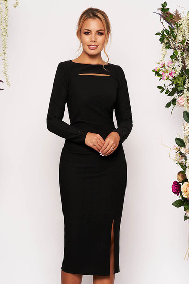 StarShinerS black scuba pencil dress long sleeved cut-out bust design