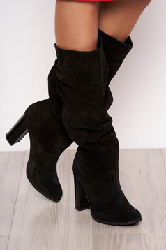 Black casual boots chunky heel natural leather