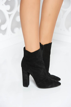Black ankle boots natural leather office with high heels chunky heel