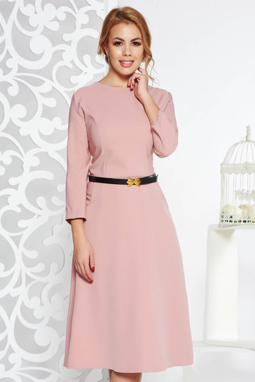 Rosa office cloche dress slightly elastic cotton with pockets accessorized with belt