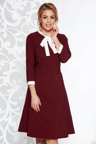Burgundy midi office dress flexible thin fabric/cloth