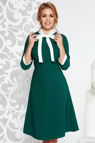Green midi office dress flexible thin fabric/cloth