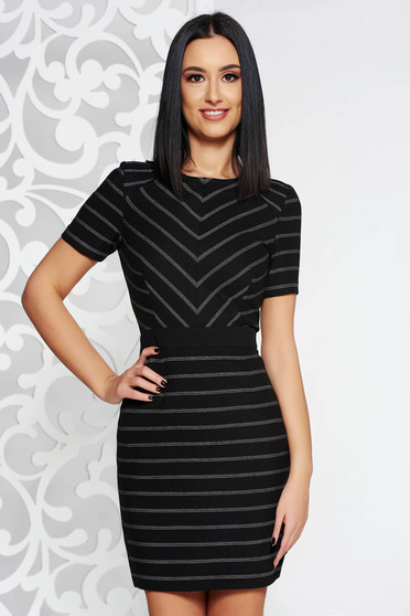 StarShinerS black elegant dress from non elastic fabric with inside lining flaring cut short sleeves