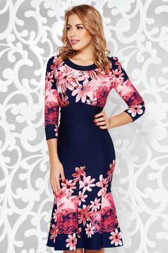 Darkblue elegant midi dress flaring cut from elastic fabric with floral prints