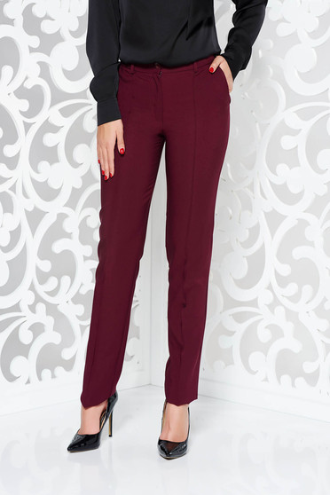 LaDonna burgundy office conical trousers slightly elastic fabric with pockets with medium waist