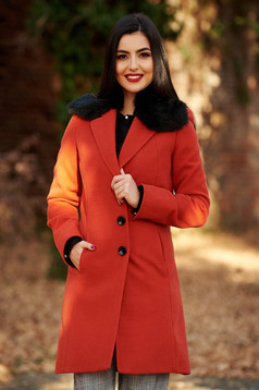 StarShinerS bricky elegant coat from wool arched cut with inside lining fur collar
