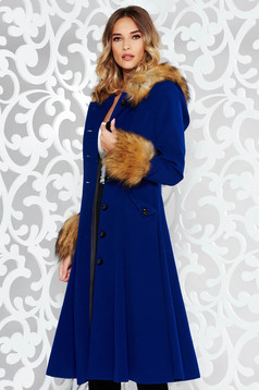 StarShinerS blue elegant from wool cloche coat with inside lining with faux fur details
