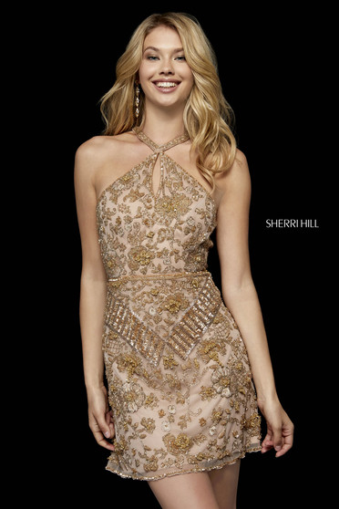 Dress Sherri Hill nude with small beads embellished details from tulle evening dresses
