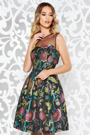 Black occasional cloche dress from jacquard with inside lining sleeveless