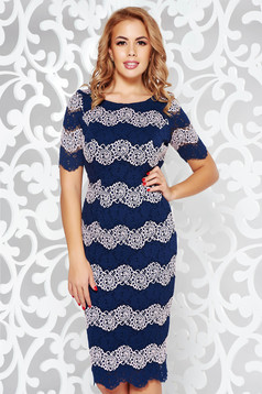 Darkblue occasional pencil dress from laced fabric with inside lining short sleeves
