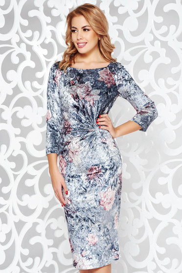Grey elegant velvet pencil dress with inside lining with 3/4 sleeves