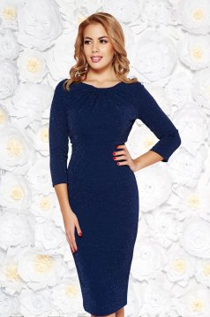 Darkblue elegant pencil dress from elastic fabric with lame thread with inside lining