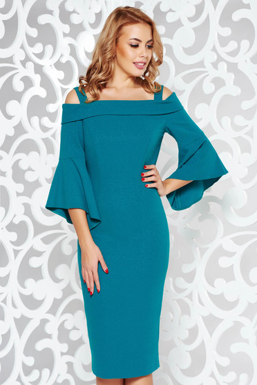 Green occasional pencil dress with bell sleeve from elastic fabric with lame thread with inside lining