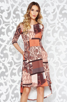 Brown casual flared asymmetrical dress with pockets slightly elastic fabric