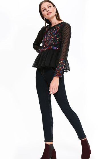Top Secret black casual flared women`s blouse with embroidery details
