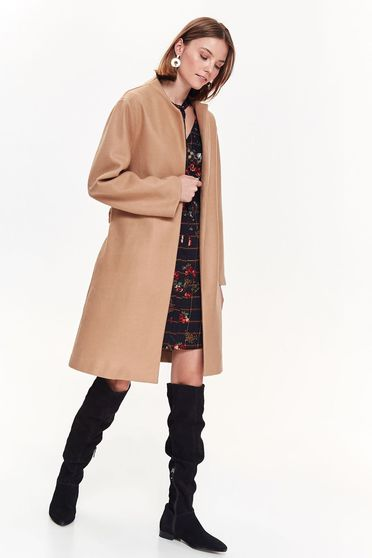 Top Secret lightbrown casual straight coat long sleeve accessorized with tied waistband